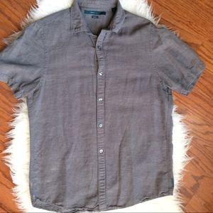 Gray Linen Cotton button down shirt M